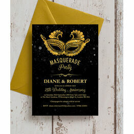 Masquerade Ball 25th / Silver Wedding Anniversary Invitation