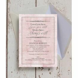Pastel Pink Quote 25th / Silver Wedding Anniversary Invitation