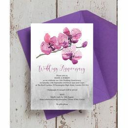 Orchid Flower 25th / Silver Wedding Anniversary Invitation