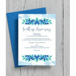 Blueberry 25th / Silver Wedding Anniversary Invitation