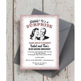 Retro Surprise 25th / Silver Wedding Anniversary Invitation