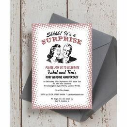 Retro Surprise 40th / Ruby Wedding Anniversary Invitation