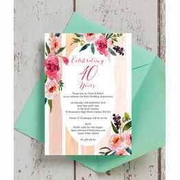 Painted Peonies 40th / Ruby Wedding Anniversary Invitation