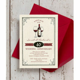 Vintage Wine Themed 40th / Ruby Wedding Anniversary Invitation