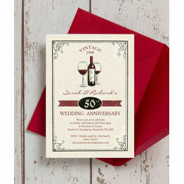Vintage Wine Themed 50th / Golden Wedding Anniversary Invitation