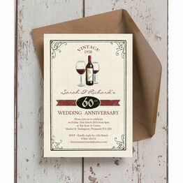 Vintage Wine Themed 60th / Diamond Wedding Anniversary Invitation