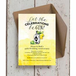 Gin & Tonic Themed 40th / Ruby Wedding Anniversary Invitation