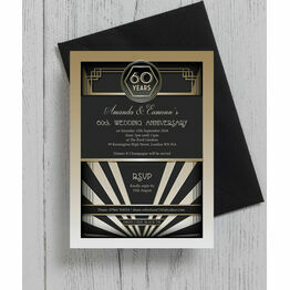 1920s Art Deco 60th / Diamond Wedding Anniversary Invitation