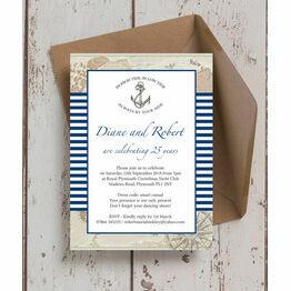 Nautical Themed 25th / Silver Wedding Anniversary Invitation