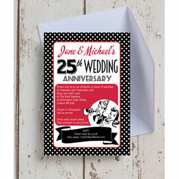 1960s Retro Rockabilly 25th / Silver Wedding Anniversary Invitation