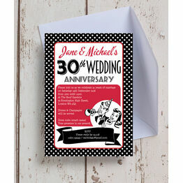 1960s Retro Rockabilly 30th / Pearl Wedding Anniversary Invitation