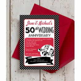 1960s Retro Rockabilly 50th / Golden Wedding Anniversary Invitation