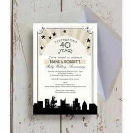 Vintage Hollywood 40th / Ruby Wedding Anniversary Invitation