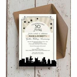 Vintage Hollywood 50th / Golden Wedding Anniversary Invitation