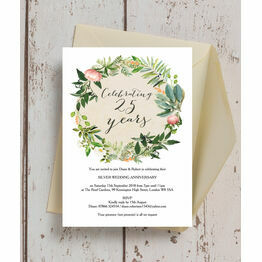 Floral Wreath 25th / Silver Wedding Anniversary Invitation