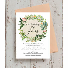 Floral Wreath 30th / Pearl Wedding Anniversary Invitation