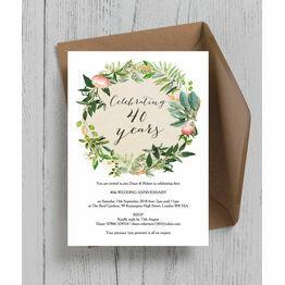Floral Wreath 40th / Ruby Wedding Anniversary Invitation