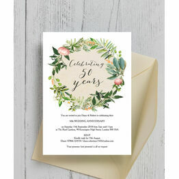Floral Wreath 50th / Golden Wedding Anniversary Invitation