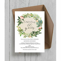 floral wreath 60th diamond wedding anniversary invitation