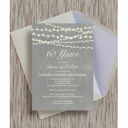 Grey Fairy Lights 60th / Diamond Wedding Anniversary Invitation