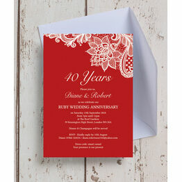 Red Lace Inspired 40th / Ruby Wedding Anniversary Invitation