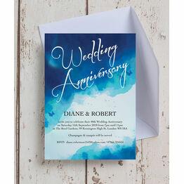 Blue Watercolour 40th / Ruby Wedding Anniversary Invitation