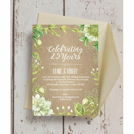 Rustic Greenery 25th / Silver Wedding Anniversary Invitation