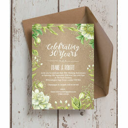 Rustic Greenery 30th / Pearl Wedding Anniversary Invitation