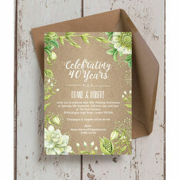 Rustic Greenery 40th / Ruby Wedding Anniversary Invitation