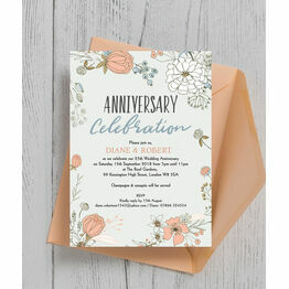 Wild Flowers 25th / Silver Wedding Anniversary Invitation