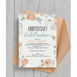Wild Flowers 40th / Ruby Wedding Anniversary Invitation