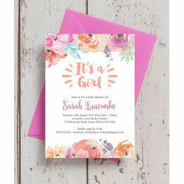 Pastel Floral Baby Shower Invitation