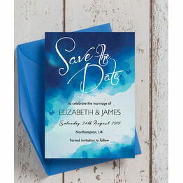 Blue Watercolour Wedding Save the Date