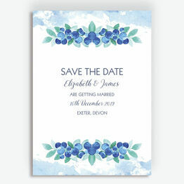 Watercolour Blueberries Wedding Save the Date