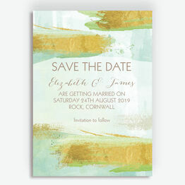 Mint Green & Gold Brush Strokes Wedding Save the Date