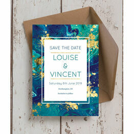 Teal & Gold Ink Wedding Save the Date