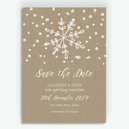 Rustic Winter Snowflake Wedding Save the Date