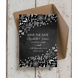 Winter Chalkboard Wedding Save the Date