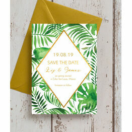 Tropical Leaves Wedding Save the Date