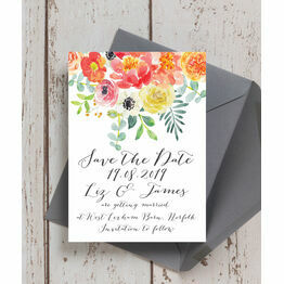 Coral & Blush Flowers Wedding Save the Date