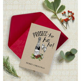 'Prosecc-ho-ho-ho!' Non Personalised Christmas Cards - Pack of 10