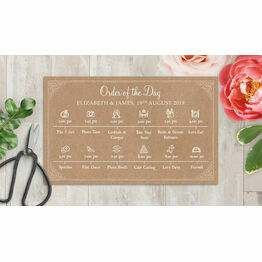 Rustic Kraft Wedding Timeline Cards