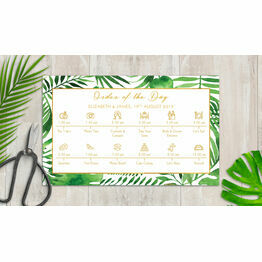 Tropical Leaves Wedding Timeline Cards