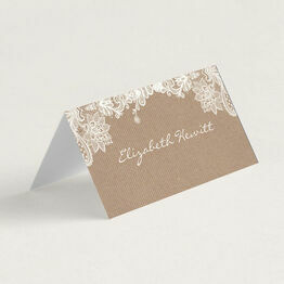 Rustic Lace Folded Wedding Place Cards
