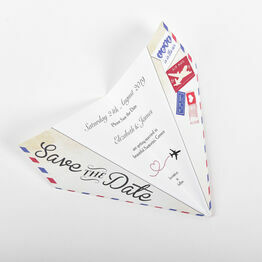 Vintage Airmail Save the Date Paper Airplane