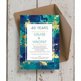 Teal & Gold Ink 40th / Ruby Wedding Anniversary Invitation