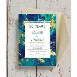 Teal & Gold Ink 50th / Golden Wedding Anniversary Invitation