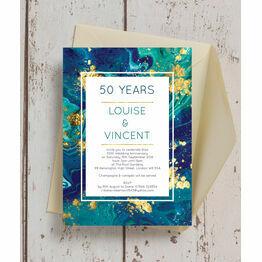 Teal & Gold Ink 50th / Golden Wedding Anniversary Invitation