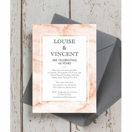 Blush Marble 40th / Ruby Wedding Anniversary Invitation