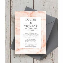 Blush Marble 50th / Golden Wedding Anniversary Invitation